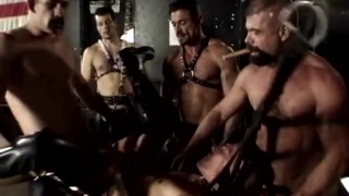 hairy leather men gang bang sling bottom
