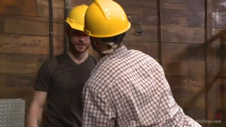 construction worker gets cock edging