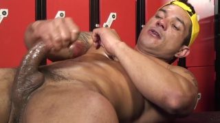 Brazilian Jock Jerking in Locker Room