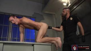 nasty cock gives prisoner an armful