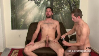 riding bearded guy's hard uncut dick