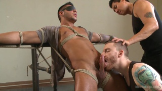 seth santoro blindfolded, tied up and edged