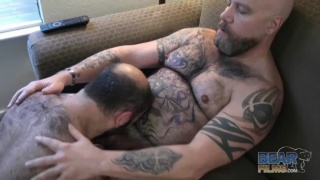 Tattooed Bear Daddy and his Bottom