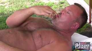 big-bellied daddies stroking off outside
