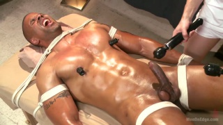 hunk gets tied up and giving edging massage