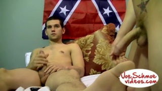 sharing his big straight boy dick with another guys