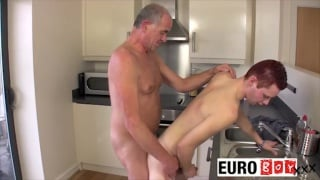 old man fucking boy hole in the kitchen