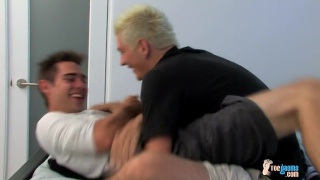 zack gets horny austin sitting on his big foreskin dick