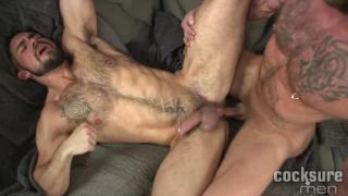 Derek spreads Aarin's butt cheeks and slides in
