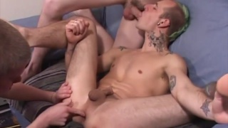 3 guys take turns sucking dick