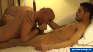 bald daddy gulps straight dick