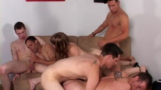 5 guys and a girl gang banging bareback