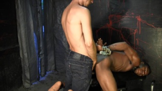 tied up and fucked in a glory hole stall