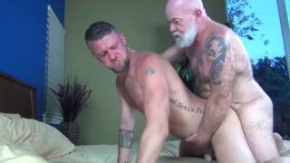bearded silver daddy fucks his boy toy
