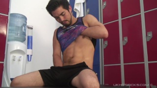 gorgeous exhibitionist strokes cock in the locker room