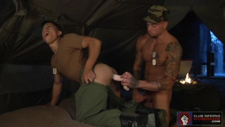 two soldiers get their asses dildo fucked