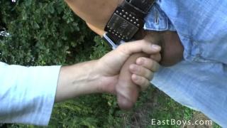 euro lad gets outdoor handjob