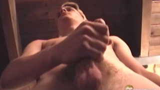 skinny blond dude pumps out a nice load