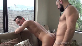 sexy bearded top has a long bare cock for this bottom