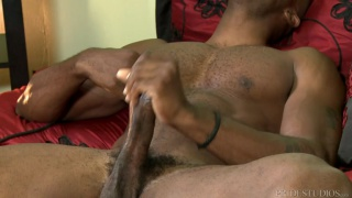 osiris plays with his long thick cock after work