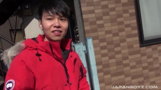 cute japanese college student beats off
