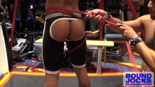 Leo Forte suspends Armond Rizzo in rope harness