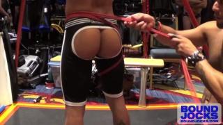 Leo Forte suspends Armond Rizzo in rope harness