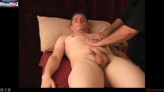 blond hunk damon gets his curved dick stroked