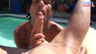 french dude sucking a huge cock poolside