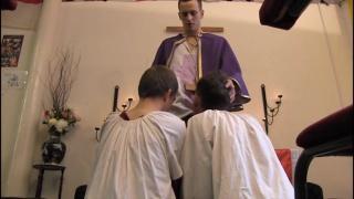 2 choirs on their knees giving head