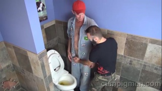 ethan finds tom taking a piss in the toilet