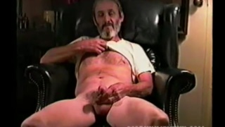 silver daddy jacking his big-nobbed dick