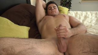 handsome hunk with hairy legs beating off