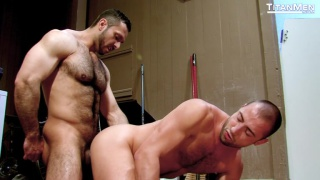 Adam Champ fucks Donnie Dean in a store room