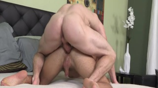 beefy dude in red underwear gets head
