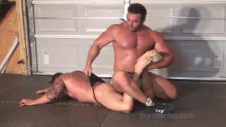 muscle buddies wrestle in underwear