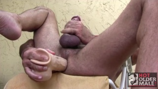 jason proud sits on dildo as big as his cock