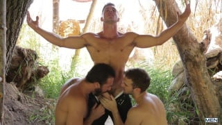 Gabriel Clark and Jessy Ares take turns on Paddy O'Brian's ass