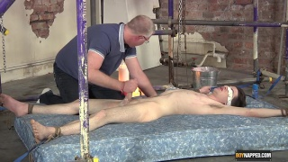 edwin is strapped down and milked