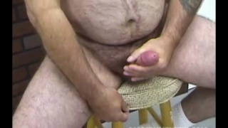 pudgy and furry man robert jacks off his
