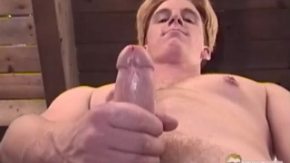 blond straight dude strokes his 9-inch cock