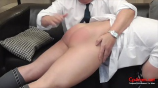 headmaster spanks naughty school boy's ass