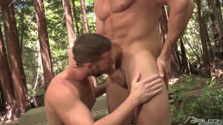 Chris Bines & Jeremy Walker fuck in the woods