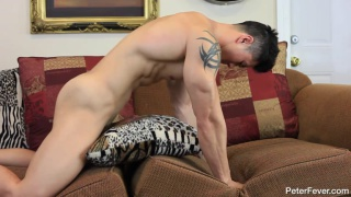 asian stud fucks his couch cushions
