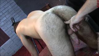 trey gets his hairy hole fingered on massage table