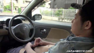 japanese guy masturbating in his car