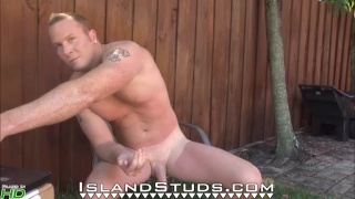 horse-hung business man jacking off