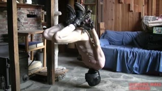 hooded slave with hands roped behind back