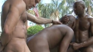 matt sizemore plays with two black hunks