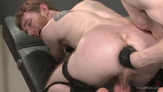 nasty night nurse fists a ginger on the exam table